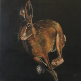 Print of an original acrylic painting of a wild hare.