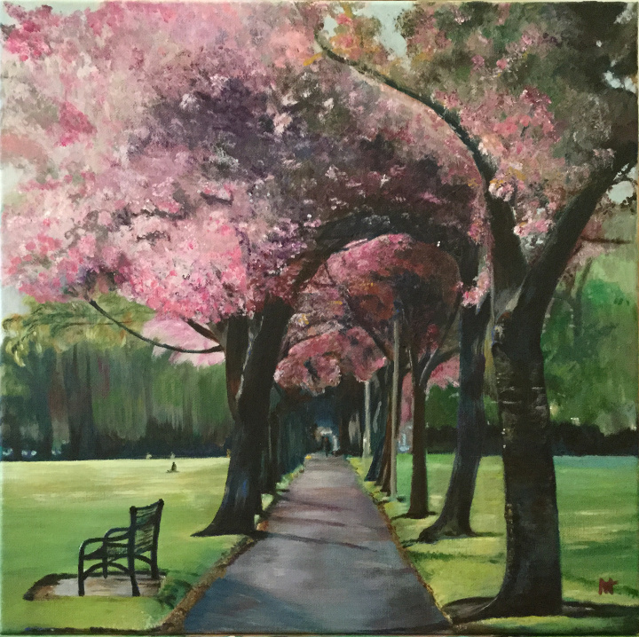 "Cherry blossom trees, ""Memories"""